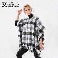 Winfox 2017 Yeni Lüks Marka Kış Kadın Moda Siyah Beyaz Plaid İşaretli Hırka Coat Kaşmir Pançolar Ve Pelerinler Femme