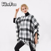Winfox 2018 New Luxury Brand Winter Women Fashion Black White Plaid Checked Cardigans Coat Cashmere Ponchos And Capes Femme