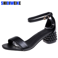 5fdc5f6e83 Sexy Open Toe Fretwork Sandals Women Sandals High Quality Square Heels  Sandals Summer Women Shoes Woman