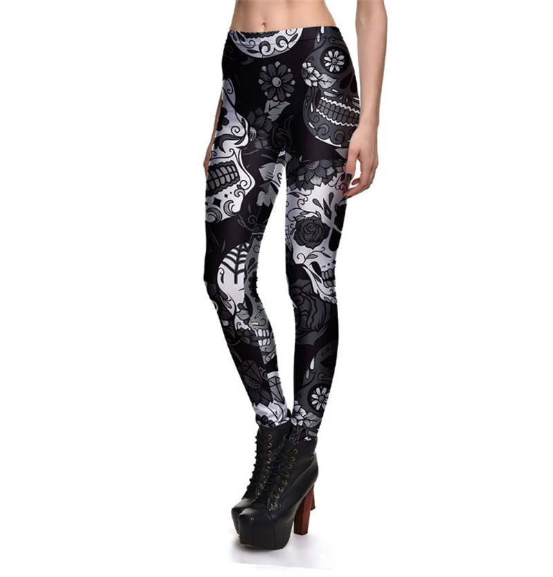 LAISIYI Leggings Hot Sell Women's Skull&flower Black Leggings Digital Print Pants Trousers Stretch Pants Plus Size 4XL