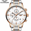 New Fashion Mens Watches Top Brand Luxury GUANQIN Quartz Watch Men Sport Full Steel Clock Male Date Luminous relogio masculino