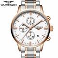New Fashion Mens Watches Top Brand Luxury GUANQIN Quartz Watch Men Sport Full Steel Clock Male Date Luminous relogio masculino