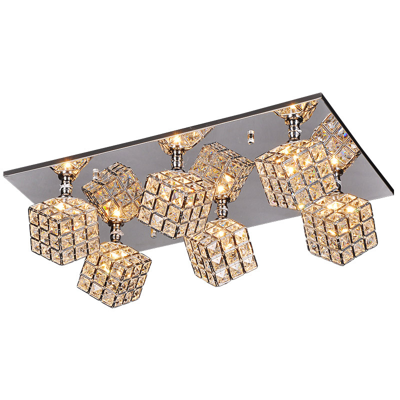 Luxury Crystal Cube Living Room Ceiling Lights Oblong Top Plate Bar Counter Ceiling Lamp Dining Room Restaurant Ceiling Fixtures ceiling fixture ceiling lampliving room ceiling light - title=