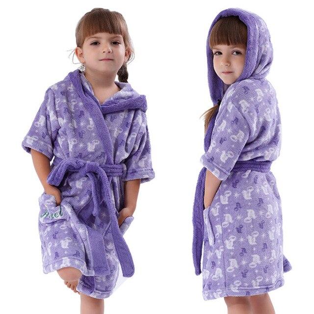Girls Purple Bathrobe Coral Fleece Cartoon Princess Ariel Peignoir ...