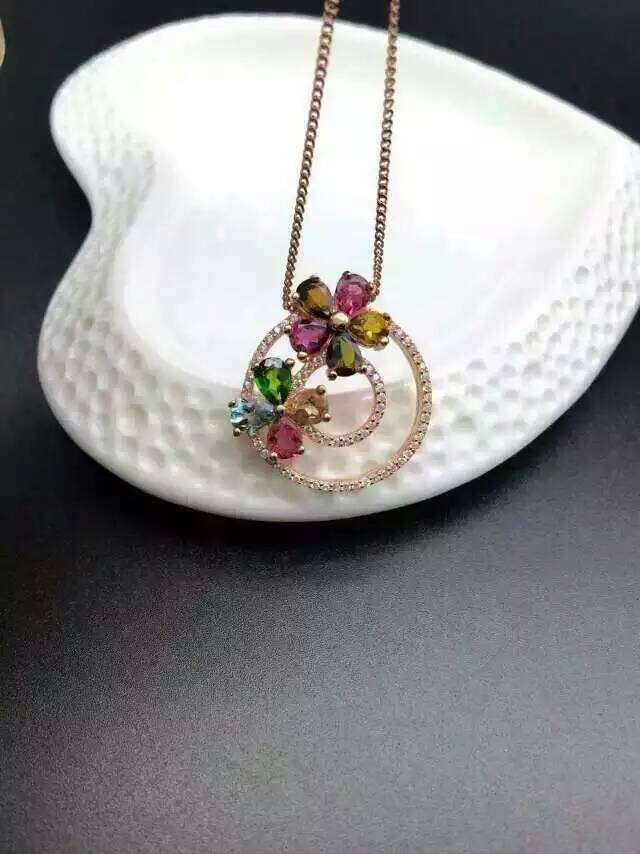 natural multicolor tourmaline pendant S925 silver Natural gemstone Pendant Necklace trendy Round flowers women gift jewelry natural multicolor tourmaline pendant s925 silver natural gemstone pendant necklace trendy romantic peach heart women jewelry