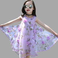 Summer Girls Dress Sleeveless Flower Kids Dresses Teenage Girls Sundress 4 6 8 10 12 14