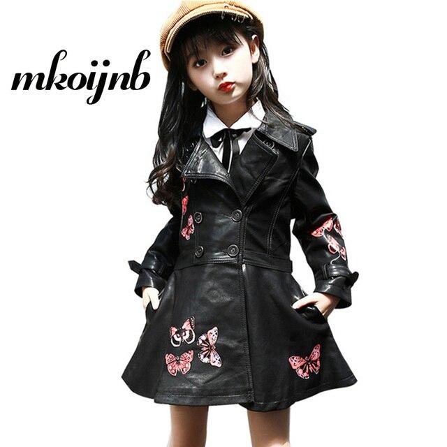 f832532f0 Girls PU Leather Jacket 2018 Autumn Winter Kids Butterfly Printing ...