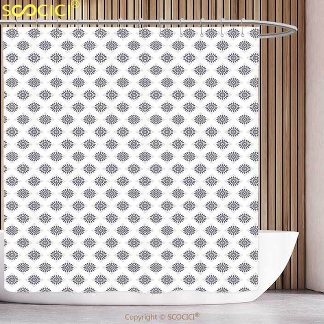 Stylish Shower Curtain Vintage Diagonal Pattern Silver Squares With Spring Flower Motifs In Repeating Form Grey