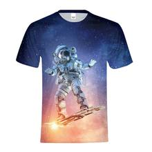 53bdff8e T-Shirts Homme Astronauts Rocket Skateboard Under Galaxy Moon 3D Print  Casual Men O-neck T Shirt Tops Short Sleeve Hombre