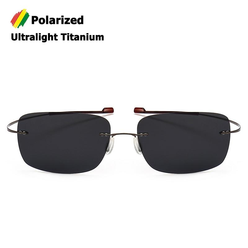 Мужские солнцезащитные очки без оправы JackJad, поляризационные квадратные очки из титана, ультралегкие брендовые дизайнерские очки для вожде...