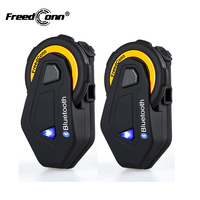 2 шт. оригинальный FreedConn T MAX Переговорные Гарнитуры Bluetooth IP65 Водонепроницаемый мотоцикл шлем внутренней FM радио 1500 м