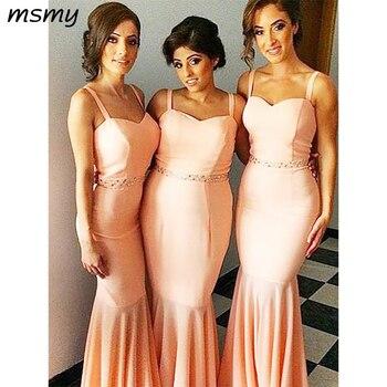 Simple Mermaid Sweetheart Bridesmaid Dresses Two Straps Sweetheart Cheap Long Bridesmaid Dresses With Beading Custom Made