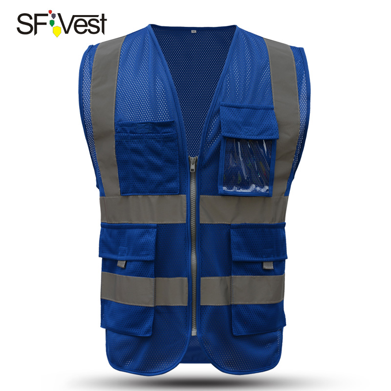 SFVEST MENS WOMEN HI VIS VIZ EXECUTIVE VEST WAISTCOAT TWO INCHES WIDTH REFLECTIVE SAFETY LARGE POCKETS FREE DELIVERY sfvest vest high visibility hi viz reflective safety waistcoat traffic vest multi pocket waistcoat for fix repair free shipping