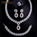 FEEROW Beautiful Bride Wedding Jewelry Set Exquisite Imitated Ruby Zircon Drop Earrings Ring Bracelet Pendant Jewelry FWSP312