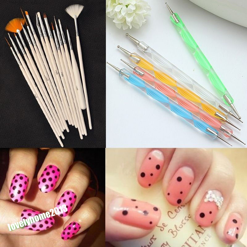 Fashion 20pcs Nail Brush Nail Art Design Painting Dotting Detailing