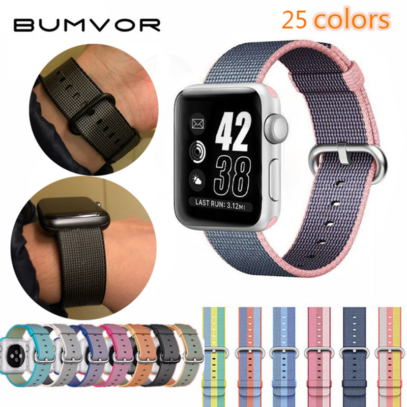 BUMVOR Woven Nylon Watchband straps for iWatch 1/2/3/4 Apple Watch 40/44MM 38/42MM Fabric Strap Band with Link Connector Adapter mu sen woven nylon band strap for apple watch band 42mm 38 mm sport fabric nylon bracelet watchband for iwatch 3 2 1 black
