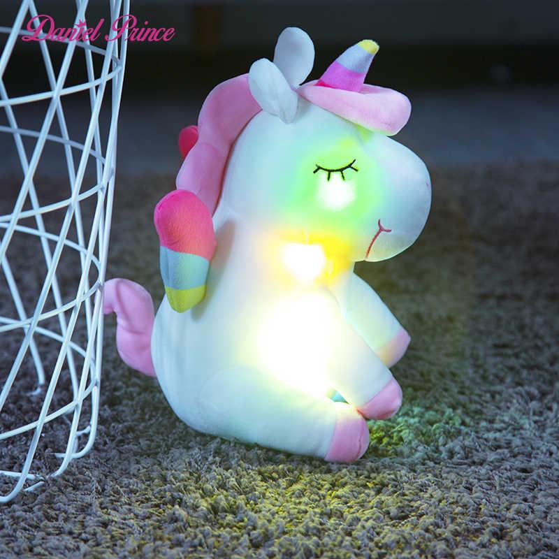 30cm led cavalo brinquedos de pelúcia acender brinquedos de pelúcia animais de pelúcia bonito pônei unicórnio brinquedo macio boneca crianças brinquedos presentes de aniversário de natal