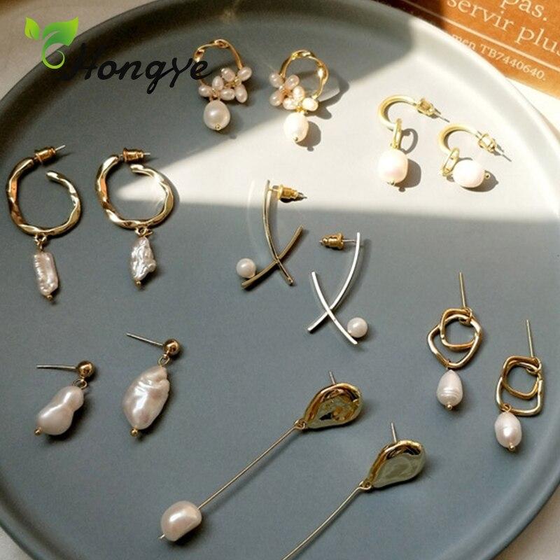Best Lady New Ins Trendy Drop Earrings For Women Luxury Freshwater Pearl Wedding Gift Vintage Copper Statement Earrings
