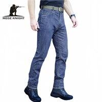 MEGE Erkekler Yüksek Kaliteli Elastik Casual Denim Jeans Biker, taktik Giyim Açık Havada Ordu SWAT Askeri Kargo Kot