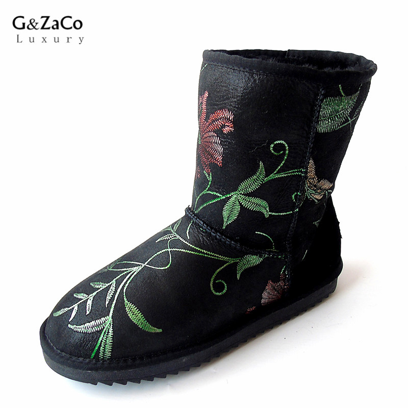 G&Zaco Luxury Sheepskin Snow Boots Embroidery Printing Black Women Waterproof Wool Boots Mid Calf Sheep Fur Flat Winter Shoes double buckle cross straps mid calf boots