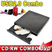 USB 2.0 Portable External Slim Optical Drive COMBO DVD-ROM / CD-ROM Burner Record SATA chip CD DVD Combo Writer
