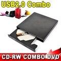 Usb 2.0 externo portátil fino de unidade óptica Combo DVD-ROM / gravador de CD-ROM registro SATA chip CD DVD Combo escritor