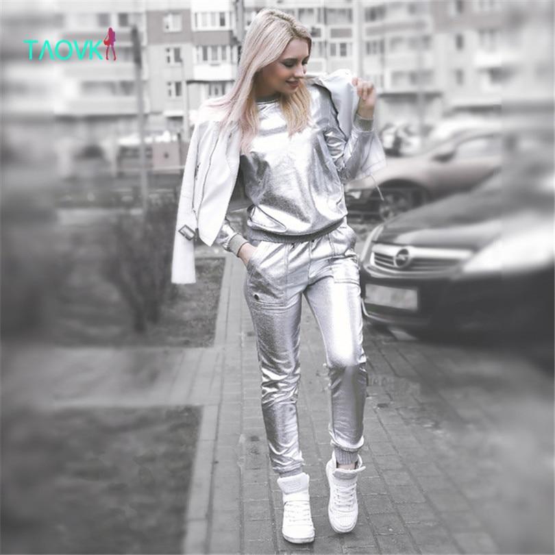 Taovk дизайн россия стиль женские большие размеры весенние и осенние серебряные блестящие толстовка и длинные брюки аэрокосмической костюмы