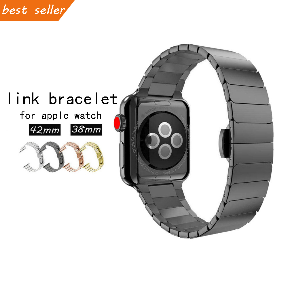 CRESTED luxury stainless steel strap For Apple watch 3/2/1 42mm 38mm iwatch band Butterfly buckle Link bracelet wrist watchband