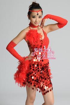 girl feather Latin dance dress customize woman sequined Cha Cha/Rumba/Samba/Ballroom dance competition dress for performance