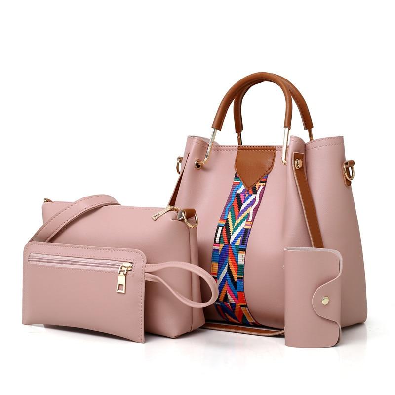 4PCS Set Purses and Handbags PU Leather Striped Shoulder Bags for Women 2018 Fashion Top-Handle Bags Female Shoulder Bag striped grommet lace up dropped shoulder top