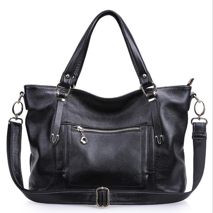 New Genuine Leather Bag Fashion Tote Women Handbag Solid Shoulder Bag Cowhide Women Messenger Bags Vogue Bolsas Crossbody Bag aelicy fashion women girls canvas shopping handbag shoulder tote shopper crossbody bags for women messenger bag bolsas feminina