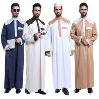 New Fashion Muslim Clothing Men Robes Long Sleeve Arab Dubai Style Indian Middle East Islamic Man Thobe Kaftan Dress