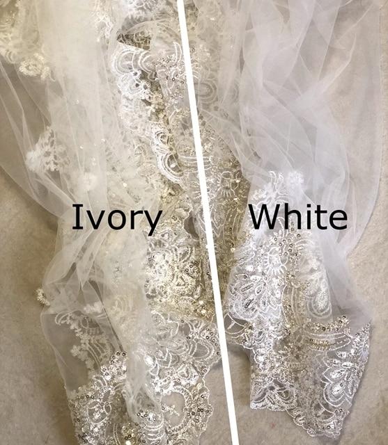 Vraies Photos 2018 voile De mariage blanc/ivoire 3M avec peigne dentelle perles mantille voile De mariée accessoires De mariage Veu De Noiva MD47