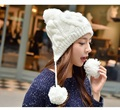 2015 Autumn Winter Hat Fashion Women Wool Caps Hats Beanie Skullies for Women Winter Hats Women Gorros Cap Fur Pom Pom Hat