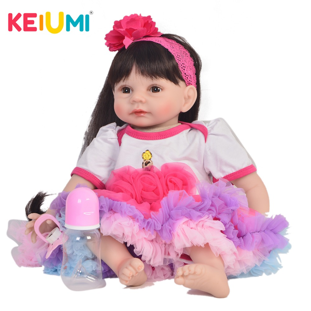 KEIUMI Princess 22 Inch Newborn Baby Doll Cloth Body Realistic Lovely Baby Doll Toy For Children's Day Kid Christmas Xmas Gifts keiumi cute 22 inch reborn baby doll cloth body realistic fashion princess baby doll toy for children s day kid xmas gifts