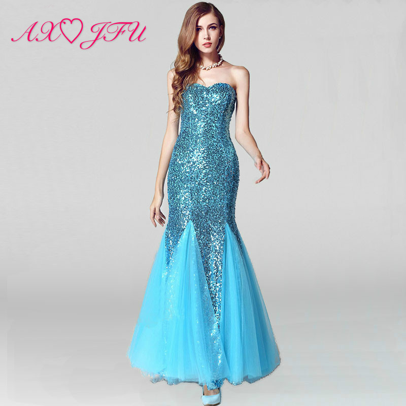 AXJFU sequin fish princess mermaid   evening     dress   strapless vintage sparkly luxury trumpet   evening     dress   fish   evening     dress