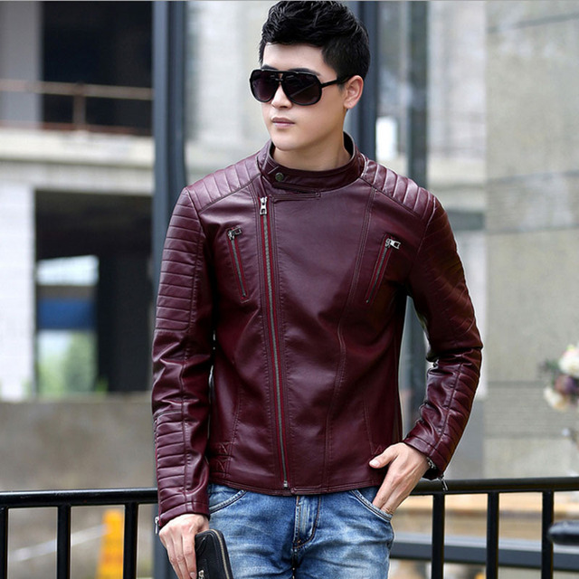 1pcs Men's leather motorcycle short jacket blazers 2017 Spring Genuine leather stripe Jacket Men Skinny blazers Coats Young man