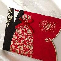 25 unids corte láser romántico estilo chino novia y el novio Tarjeta de invitación de boda para imprimir fiesta de cumpleaños recuerdos favores decoraciones