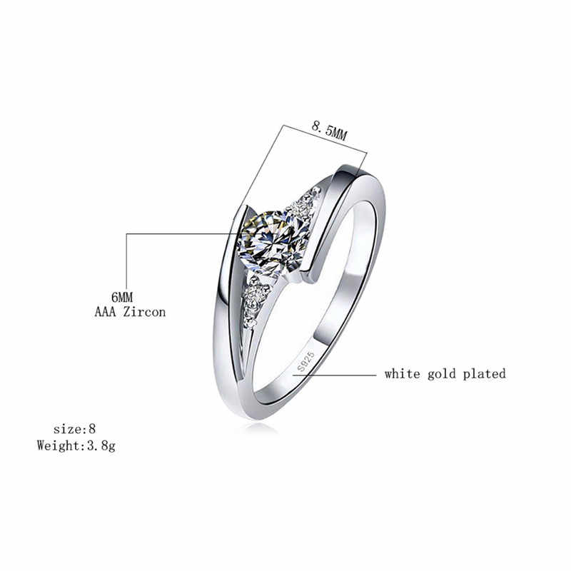 น่ารักหญิงขนาดเล็ก Zircon แหวนเงิน 925 เครื่องประดับงานแต่งงานแหวนหมั้นสำหรับสุภาพสตรี 2019 ของขวัญวันวาเลนไทน์