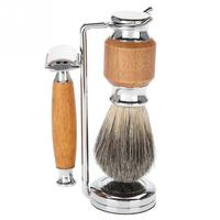 Men Shaving Set Beard Brush + Razor + Shaving Stand + Blades for Salon Home Travel Use