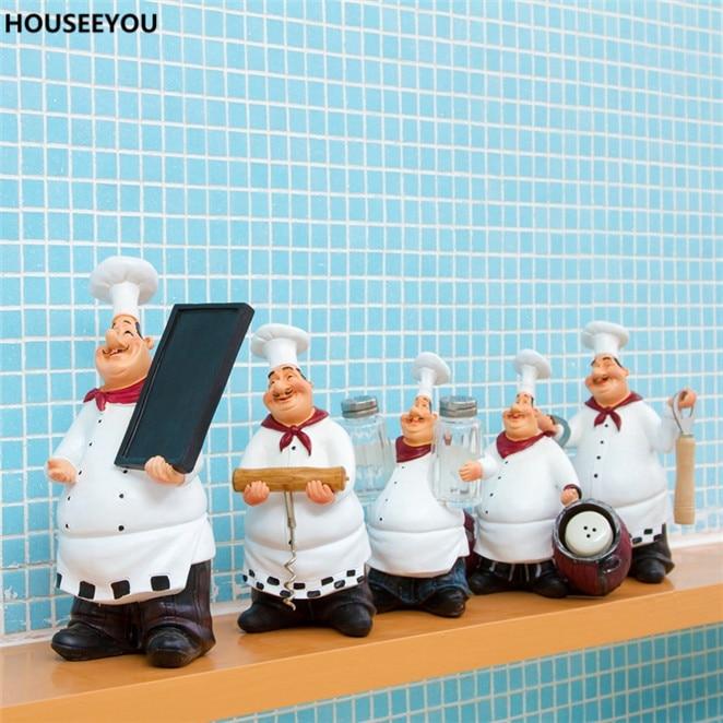 Kitchen Figurines Accessories Chef Decoration Craft Figurines Miniatures Restaurant Bar Cafe Ornament Fashion Vintage Home Decor
