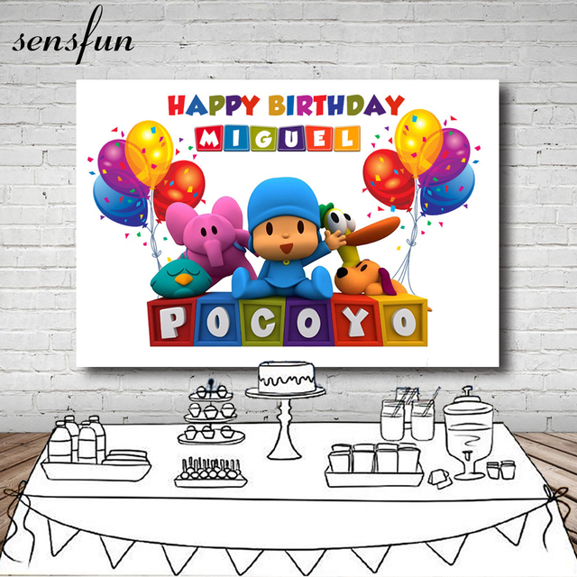 Sensfunการ์ตูนPocoyo Birthday PartyฉากหลังสำหรับPhoto Studioบอลลูนที่มีสีสันการถ่ายภาพฉากหลังทั้ง7x5FTไวนิล