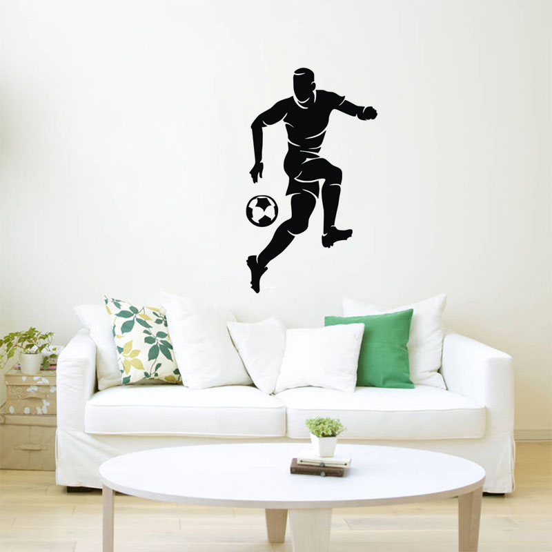 Lovely Playing Football Wall Stickers Kids Rooms Wall Decor Vinyl Decals Sports Wall  Murals Home Decoration Accessories