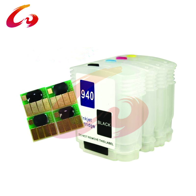 BK,C,M,Y Empty with chip Refillable ink cartridge for HP hp 940 hp940 Officejet Pro 8500 All-in-One 8000 Printer 5colors set high quality 680ml ink cartridge with pigment chip for hp 5000 5500 printer c m y lc lm