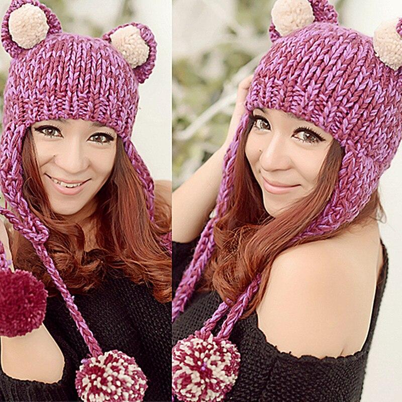 BomHCS Cute Big Cat Ears Funny Beanie Women Winter Warm Handmade Knitted Hat Cap bomhcs cute big flower beanie winter lady s warm crochet knitted hat 10