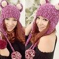 Grande bonito Orelhas de Gato Engraçado Gorro Mulheres Inverno Quente Artesanal Chapéu Feito Malha Cap