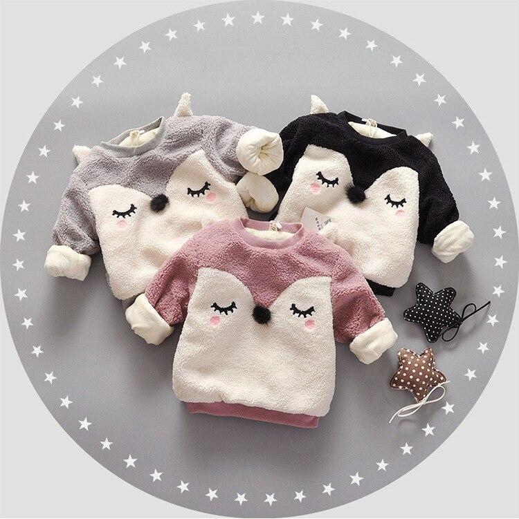 Babykleidung Mädchen FäHig Heißer Verkauf Herbst Winter Baby Warme Sweaterthickening Langhülse Baumwolle Karikatur Oansatz T-shirt Baby Mädchen Kleidung