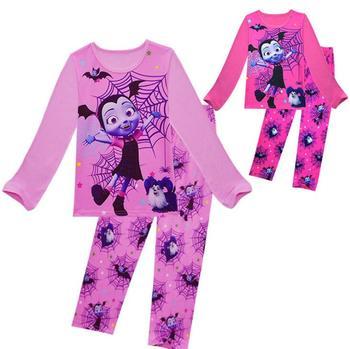 Conjunto de pijamas para niñas, novedad, Camiseta con estampado de personaje de chica vampiro, Tops + Pantalones, conjunto de 2 uds, conjunto de ropa de dormir para niños, conjunto de ropa de niña