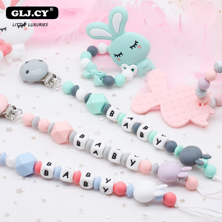 Baby Silicone Pacifier Clamp Koala Tortoise Rabbit Bracelet Pacifier Chain Combination Safe Dental Accessory Bracket Custom Name