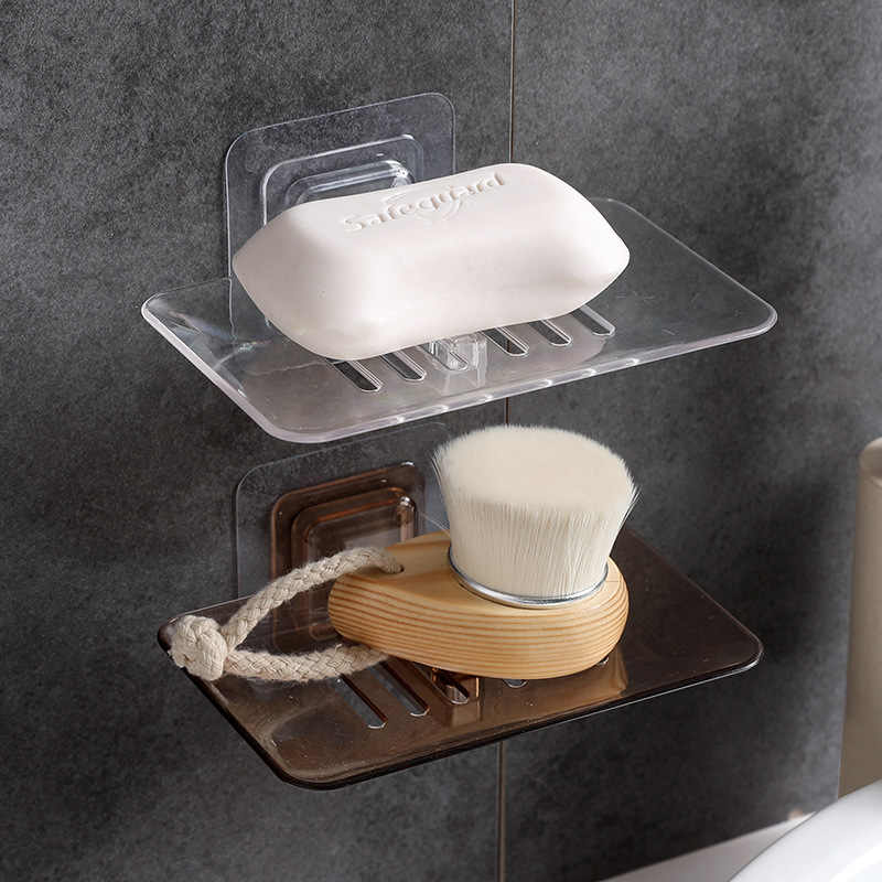 Bathroom Shower Soap Box Dish Storage Plate Tray Holder Transparent Case Soap Holder Housekeeping Container Organizers